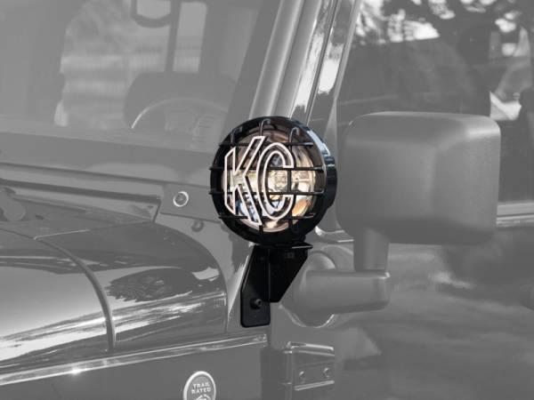 KC HiLiTES - KC HiLiTES Windshield Side Mount Light Bracket for Jeep JK (2007-2018) - Black - KC #7317 7317