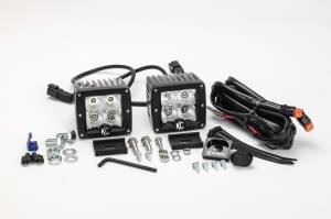 "KC HiLiTES - KC HiLiTES 3"" C-Series C3 LED Flood Beam Black Pair Pack System - #332 332 - Image 7"