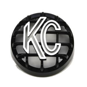 "KC HiLiTES - KC HiLiTES 4"" Stone Guard - KC #7219 (Black with White Logo) 7219 - Image 1"