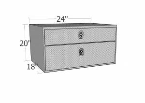 Brute - BRUTE Underbody Truck Tool Boxes w/Drawer 24 inch - Black Texture Coat  UB24-20TD-BT - Image 2